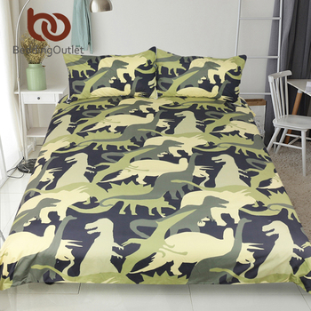 BeddingOutlet Dinosaur Troops Bedding Set Queen Size Duvet Cover Set Animal Camouflage Print Bedspreads for Kids Bed Set 3pcs