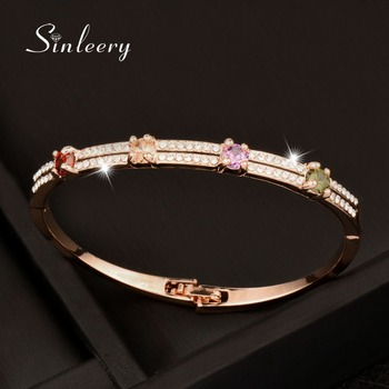SINLEERY New MultiColor Tiny Round Crystal Bangle White/Rose Gold Color Double Row Zircon Bangle Bracelets Women Jewelry SL042